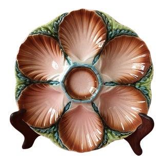 Antique Sarreguemines Majolica Oyster Plate For Sale