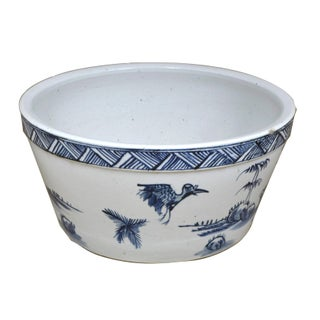 Sarreid LTD Asian Blue & White Porcelain Water Bowl For Sale