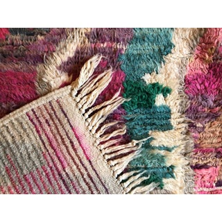 Moroccan Boho Chic Hand Made Pure Wool Pink and Green Rug - 4′4″ × 5′8″ Preview