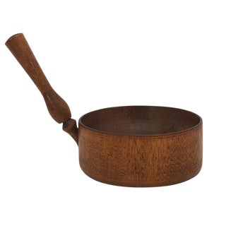 Antique Shaker-Style Turned Wooden Bowl With Handle For Sale