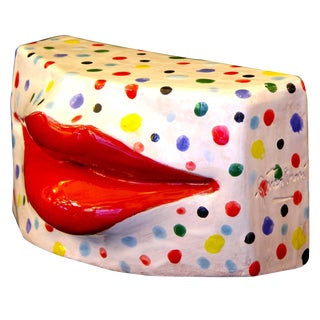 Modern Lipstick Red Lips Terracotta Kiss Sculpture With Multicolor Dots on White For Sale