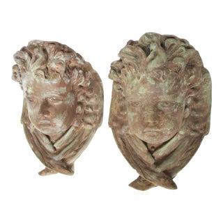 Winged Garden Cherubs Sculptures - a Pair For Sale