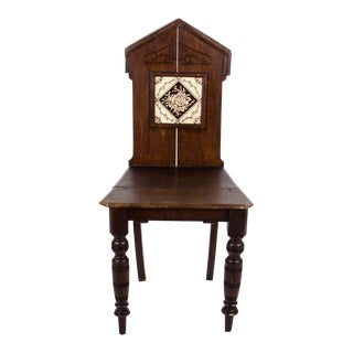 19th C. Victorian Inset Tile Hall Chair For Sale