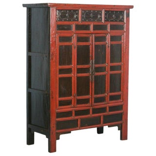Antique 18th Century Heavily Paneled Chinese Red Lacquered Cabinet For Sale