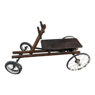 Antique 1920s Irish Mail Cart Kart Push Pull Gear Scooter Ride-On Toy Car with Wire Wheels For Sale
