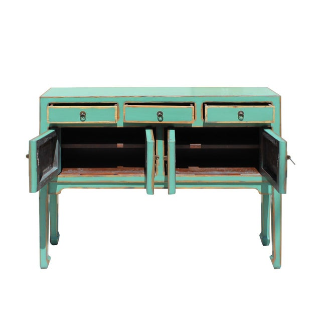 Asian Chinese Oriental Distressed Teal Green Blue Narrow Slim Table For Sale - Image 3 of 8