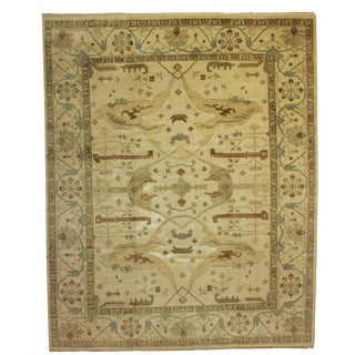 RugsinDallas Hand Knotted Wool Indian Oushak Style Rug - 11′11″ × 14′9″ For Sale