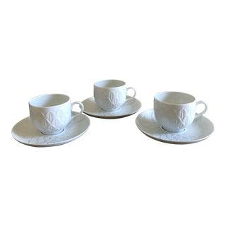 J.L. Cocquet Limoge Porcelain Tea Cups With Saucers - Set of 3 For Sale