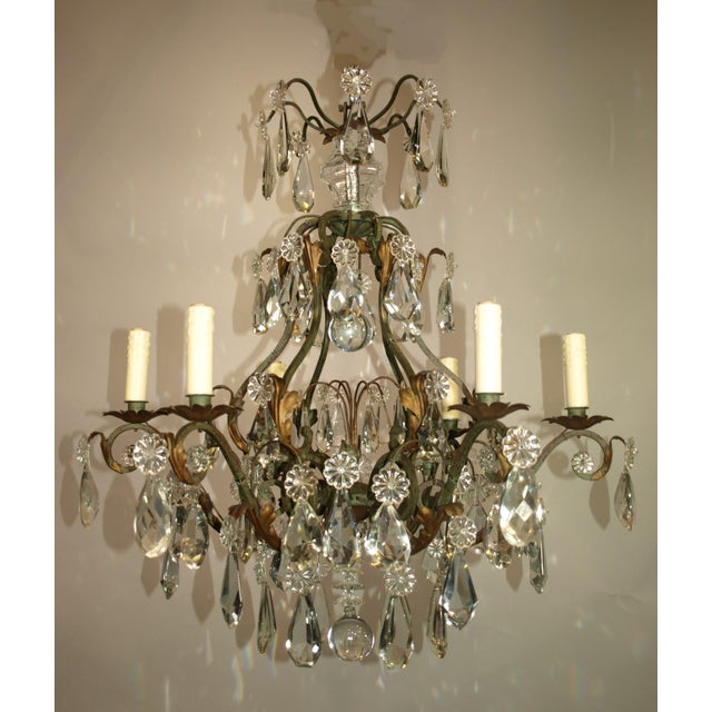 Antique Chandelier of Iron and Crystal - Image 2 of 6