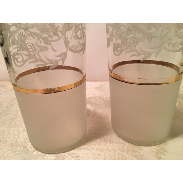 Glass Mid-Century Frosted Highball Glasses - Set of 4 For Sale - Image 7 of 8