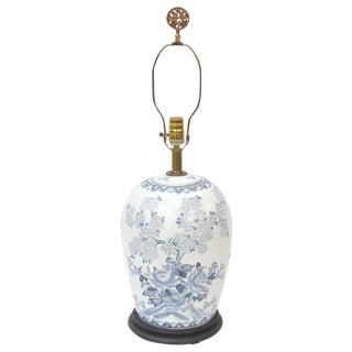 Hollywood Regency Blue White Asian Ginger Jar Lamp For Sale