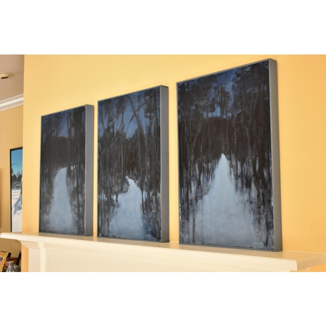 """""""Turning Into the Night"""" Contemporary Abstract Landscape Acrylic Painting by Stephen Remick For Sale - Image 10 of 11"""