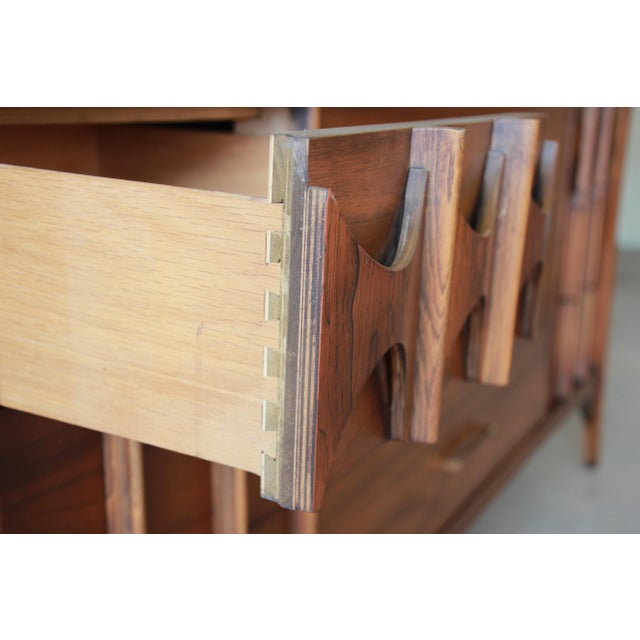 Kent Coffey Perspecta Sculpted Walnut and Rosewood Triple Dresser or Credenza For Sale - Image 9 of 11