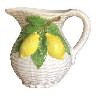 Italian Majolica Lemon Basket Weave Pitcher For Sale