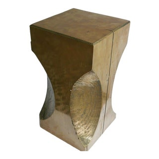 Brass Finish Custom Made Side Table For Sale