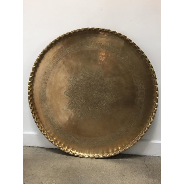 Large Mid-Century Round Brass Tray Table on Folding Stand For Sale In Los Angeles - Image 6 of 12