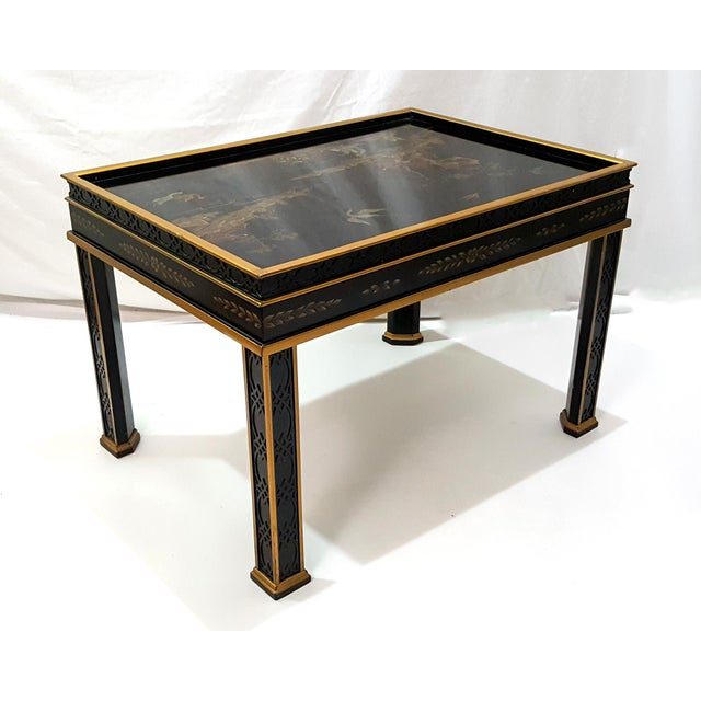 1980s 1980s Chinoiserie Drexel Hand-Painted Black Lacquer Side Table For Sale - Image 5 of 13