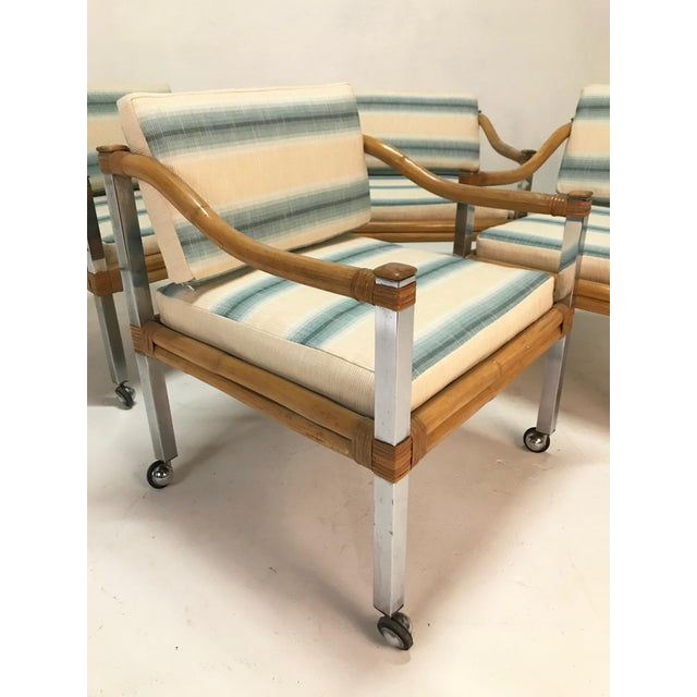 Wrapped Rattan & Chrome Armchairs - Set of 4 For Sale - Image 4 of 6