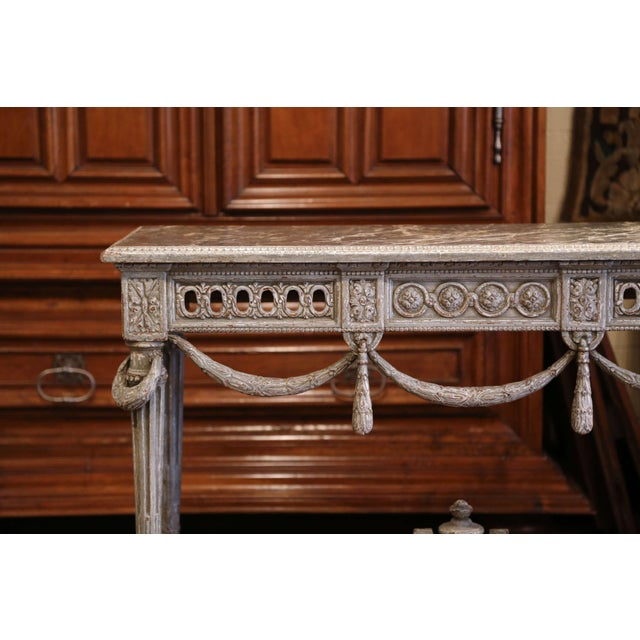 Gray Pair of 19th Century French Carved Painted Consoles Tables With Faux Marble Top For Sale - Image 8 of 12