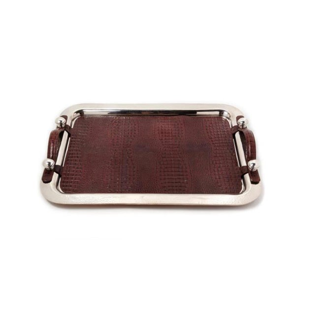 LOM An Argentine Silver-Plate and Leather Serving Tray, Plata Lappas, Buenos Aires, 20th Century, the Tray With a Spot-Hammered Finish. For Sale - Image 4 of 5