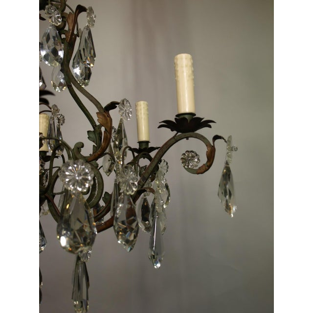 Antique Chandelier of Iron and Crystal - Image 4 of 6