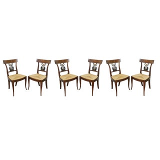 Italian Neoclassic Walnut and Ebonized Dining Chairs - Set of 6 For Sale
