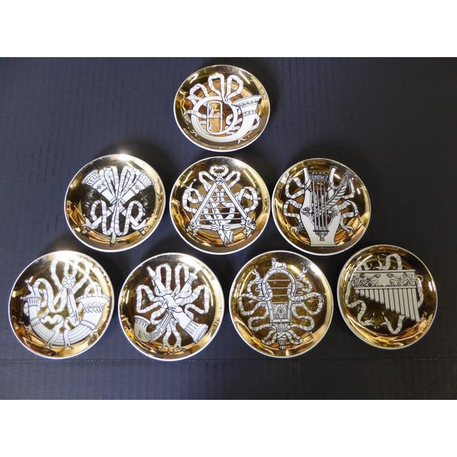 Gold 1950s Piero Fornasetti Musicalia Coasters - Set of 8 For Sale - Image 8 of 9