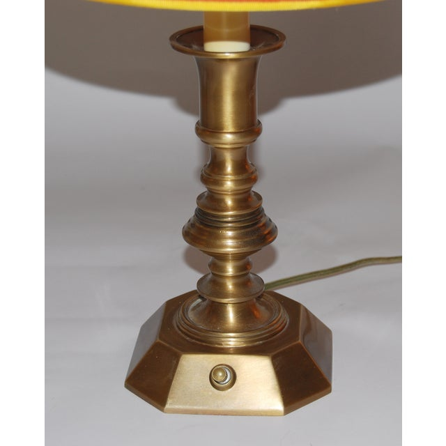 Vintage Brass Desk Lamps & Marble Shades - Pair - Image 6 of 6