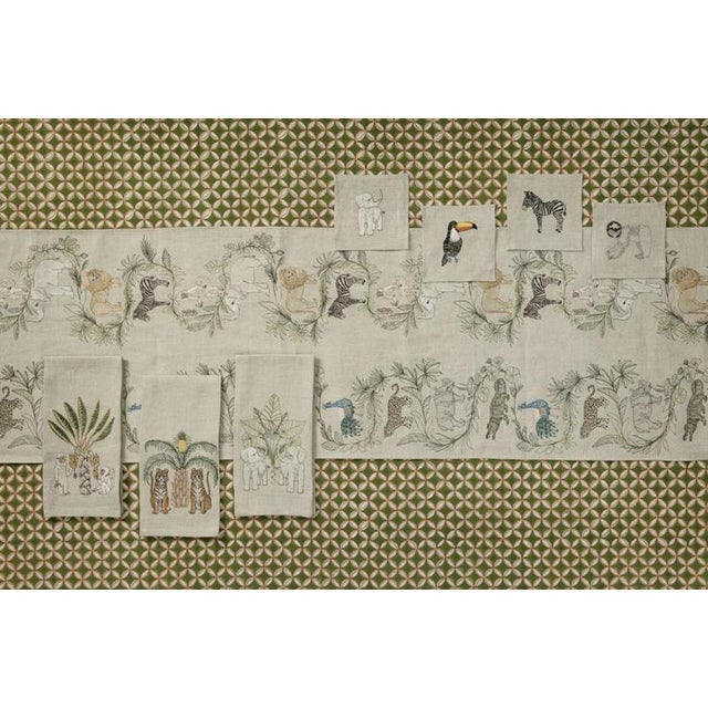 2010s 2010s French Ecru Linen Tigers With Pineapple Palm Tree Tea Towel For Sale - Image 5 of 6