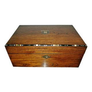 Early 19c Irish Mahogany Writing Slope With Armorial Crest For Sale