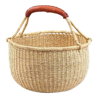 Medium African Basket | Bolga Basket | Ghana Basket | Storage |Market Basket | Picnic |Woven Basket |Plant Pot |Magazine Basket | Harvest Basket For Sale