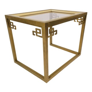 Vintage Greek Key Brass Side Table With Glass Insert For Sale
