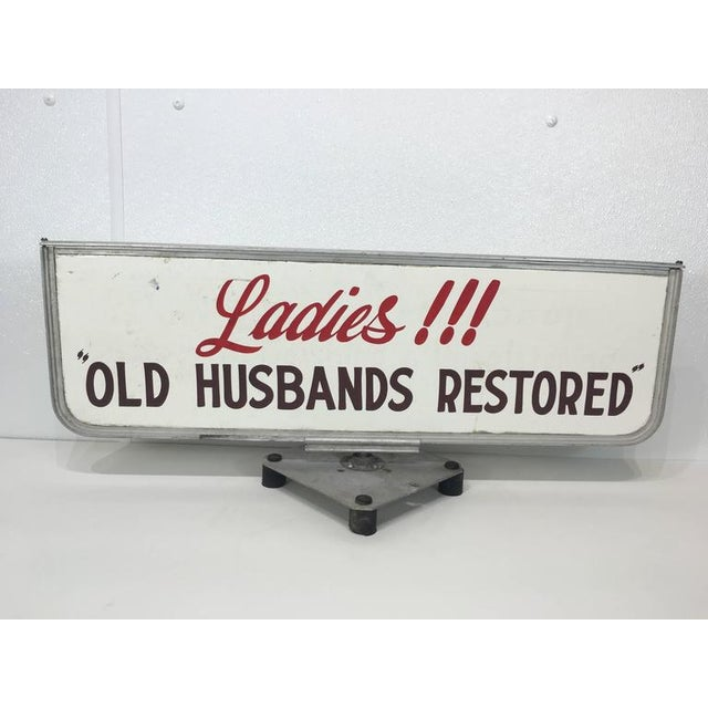"""Old Husbands Restored"" trade/store display sign, authentic vintage swivel sign on square plinth base, raised on four..."