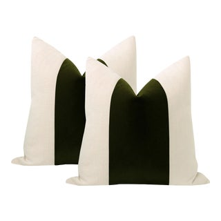 """22"""" Olive Mohair Panel + Linen Pillows - a Pair For Sale"""
