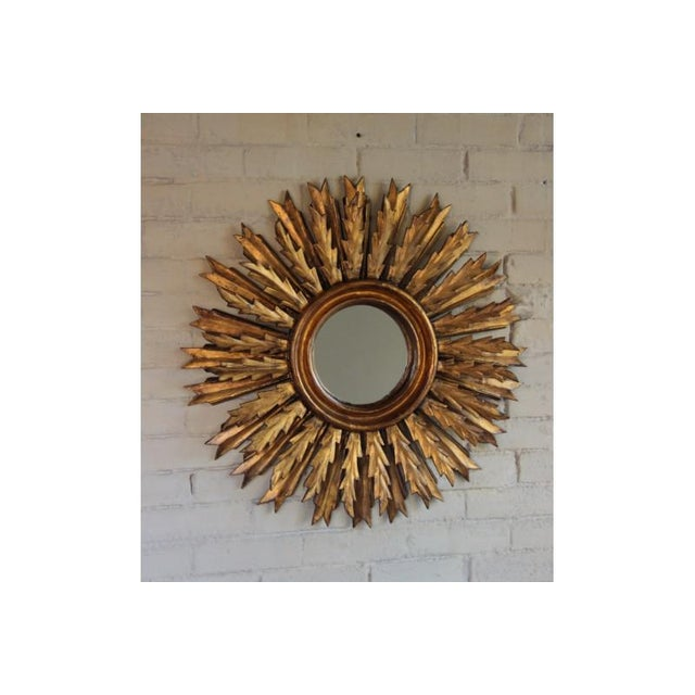 Wood Mid-Century French Double Layer Sunburst Mirror With Original Mirror Glass For Sale - Image 7 of 10