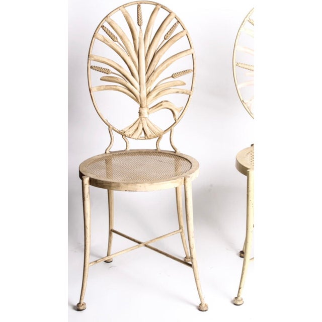 Vintage Wheat Themed Metal Chairs - a Pair - Image 2 of 9