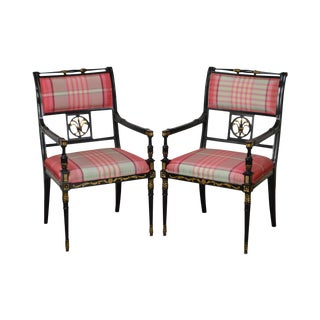 Kindel Black & Gold Regency Arm Chairs - a Pair
