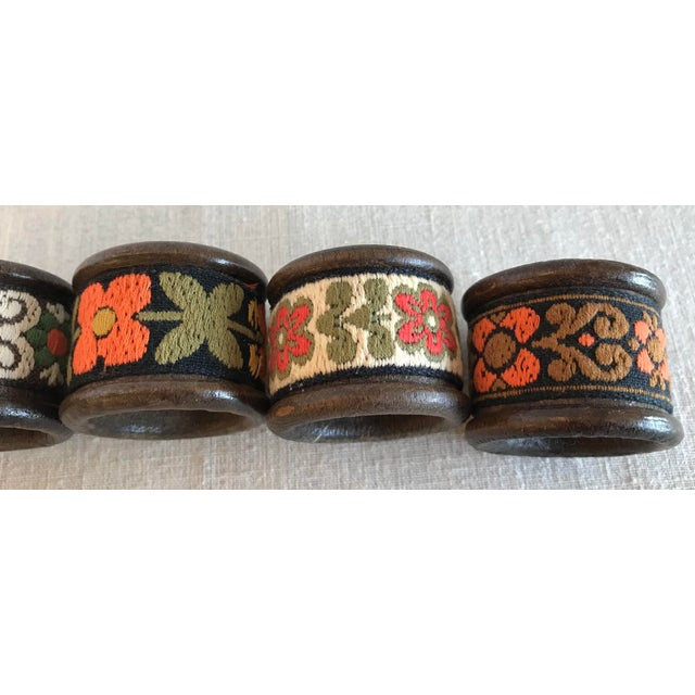 Vintage Wood & Woven Napkin Rings - Set of 6 For Sale In Dallas - Image 6 of 7