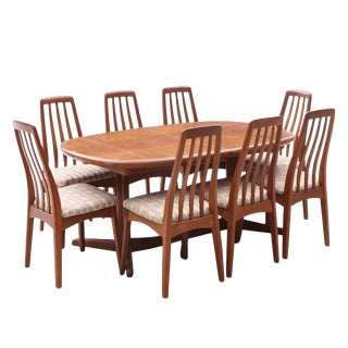 Mid-Century Danish Modern Solid Teak Dining Set - 9 Pieces For Sale
