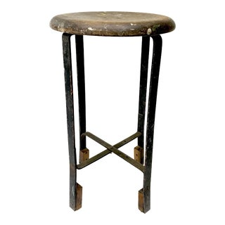 Vintage Wood Seat Industrial Stool
