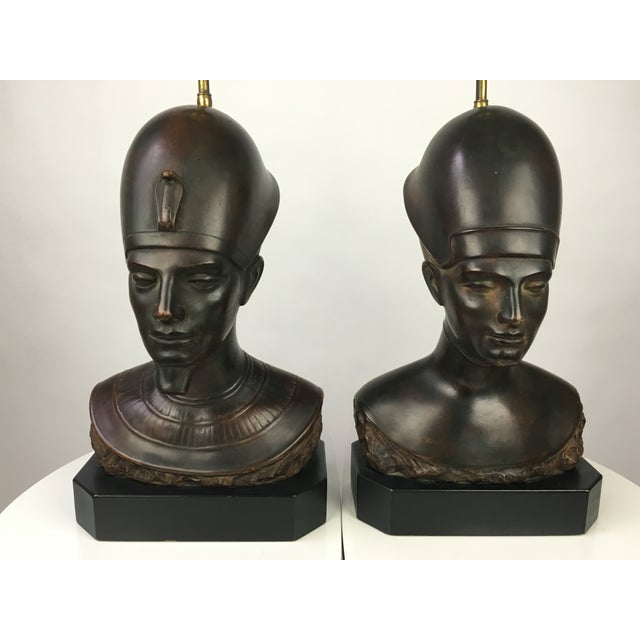 Haruil Bronzed Egyptian Pharaoh Table Lamps - Pair For Sale - Image 4 of 9