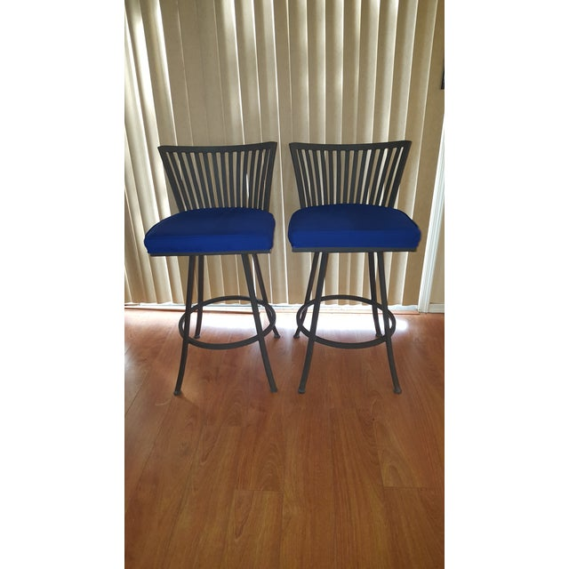 Trendler Mid Century Modern Peacock Blue Swivel Bar Stools- a Pair For Sale In Phoenix - Image 6 of 6