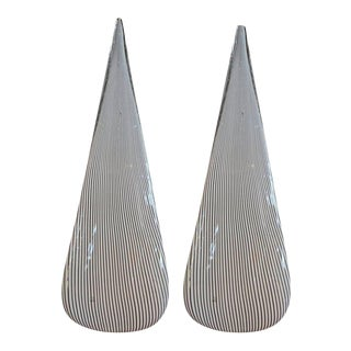 1970's Black and White Pin Stripe Murano Glass Lamps by Vetri-A Pair For Sale