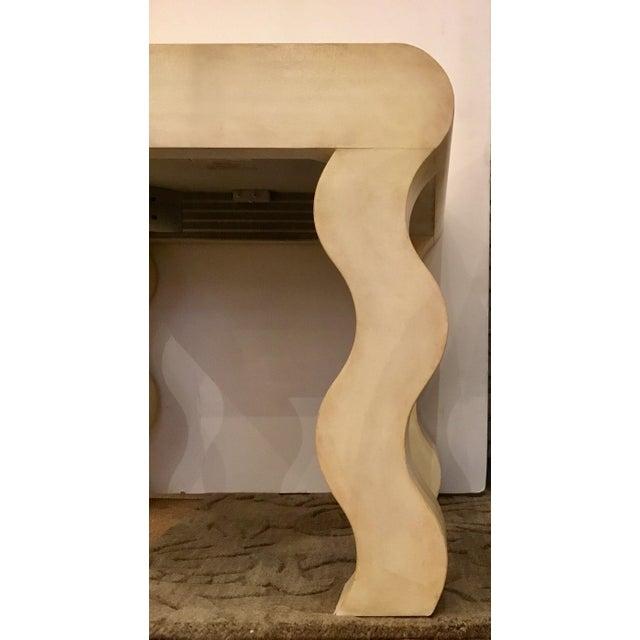 Henredon Henredon Modern Ivory Leather Wrapped Curvy Side Table For Sale - Image 4 of 5