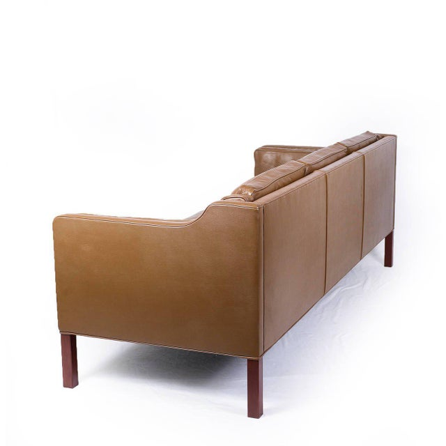 1960s Borge Mogensen Model #2213 Three-Seat Leather Sofa For Sale - Image 5 of 10