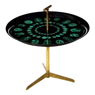 1950s Piero Fornasetti Serving Tray Table With Brass Tripod Base For Sale