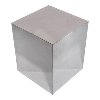 Baughman Style Stainless Cube Table For Sale