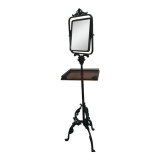 Double Beveled Swivel Mirror and Gallery Tray on Stand