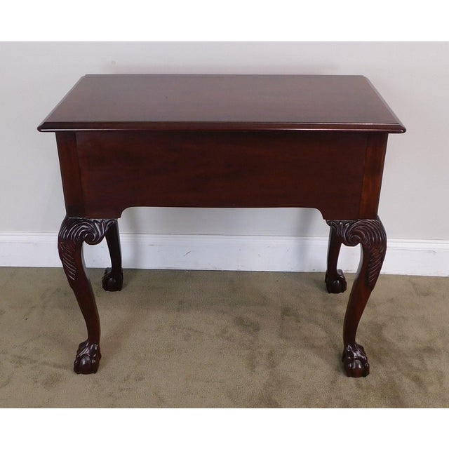 Wood Councill Craftsman Chippendale Style Banded Mahogany Claw Foot Side or Console Table For Sale - Image 7 of 13