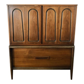 1970s Mid Century Modern Walnut Highboy Dresser For Sale